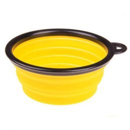 Portable Silicone Pets Bowls Dogs Cats Bowls Pet Supplies Dog Accessories-Yellow