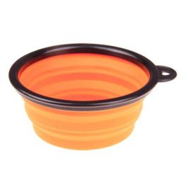 Portable Silicone Pets Bowls Dogs Cats Bowls Pet Supplies Dog Accessories-Orange