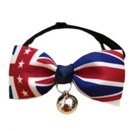 England Style Pet Collar Tie Adjustable Bowknot Cat Dog Collars with Bell-A06
