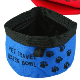 Pet Travel Water Bowl Dogs Cats Foldable &  Portable Bowl BLUE (9.5 * 4 Inches)