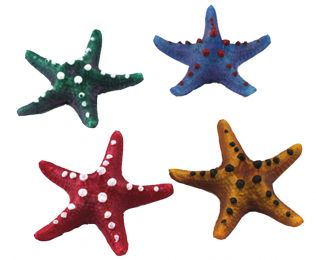 4 PCS Resin Emulational Starfish Aquarium Ornament, 8x8x2cm, Random Color