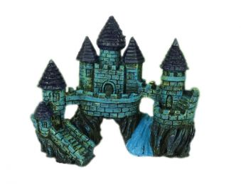 Resin Blue Castle Aquarium Ornament, 14x6x13cm
