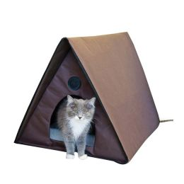 "K&H Pet Products Outdoor Heated Kitty A-Frame Chocolate 35"" x 20.5"" x 20"""