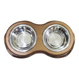 Plastic Framed Double Diner Pet Bowl in Stainless Steel, Large, Gold and Silver